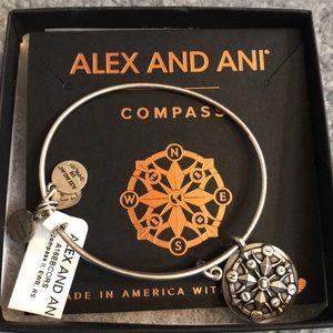 Silver Finish Alex and Ani Compass Bangle Bracelet